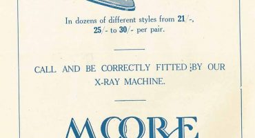 Printed advert Moore Bros shoe shop Salisbury, 'call and be correctly fitted by our x-ray machine'