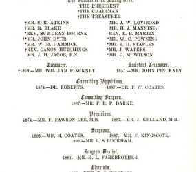 Mr H Wilks listed as House Surgeon from 1891