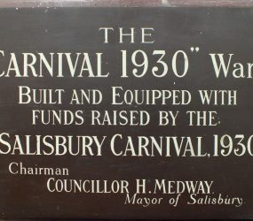 Plaque recognising ward build and equipped with funds raised by Salisbury Carnival, 1930