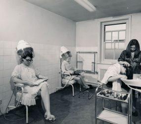 Nurses under hood dryers