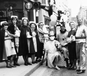 Nurses with staff dressed up in High Street