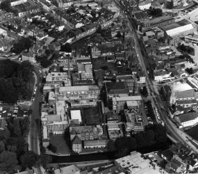 View of Infirmary buildings from the air, 1990s