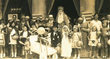 Children and adults dressed up for hospital carnival