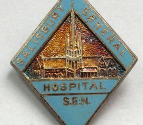 Diamond shaped badge with Salisbury Cathedral
