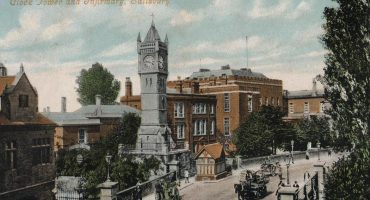 Salisbury General Infirmary and clock tower from Fisherton Street