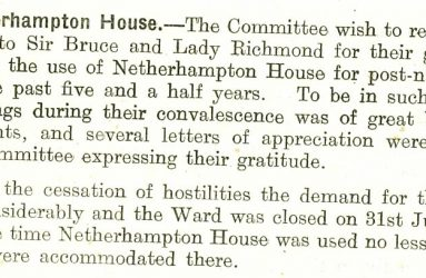 Annual report extract expressing thanks for use of Netherhampton House