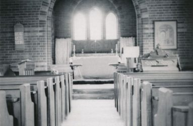 Looking down the aisle of the chapel