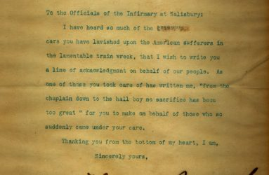 typed letter signed by Roosevelt thanking Infirmary staff for helping casualties