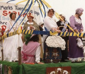 Staff on float dressed as historic figures
