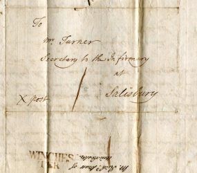 The letter addressed to Mr Turner at Infirmary from Mr Pratt, Winchester hospital