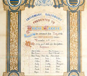 Blue and gold decorated certificate with handwritten details
