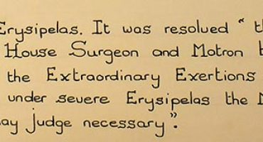 Entry from 1833 commenting on the outbreak of Erysipelas