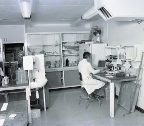 laboratory with man in lab coat at computer screen, microscope, bottles and flasks on shelving