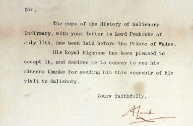 St James Palace notepaper with typed letter of thanks signed by Asst. Private Secretary
