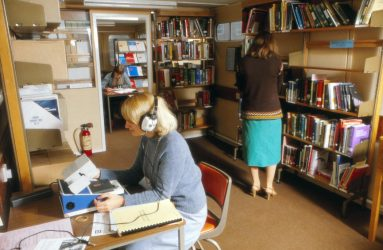 Nurses using library facilities at Harcourt House
