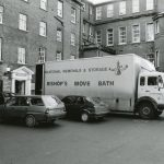 Removal lorry outside the Infirmary building