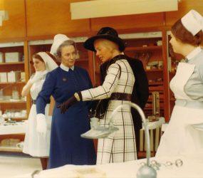 HRH Duchess of Kent talking to Deputy Matron, 1970