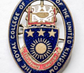 blue and red enamel oval badge, crest of the RCN in centre depicting lamp of knowledge and a shield shape with 3 stars and a sun