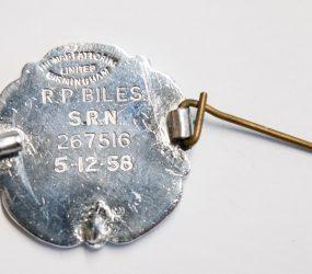 inscription reads R. P. Biles, SRN, 5.12.58