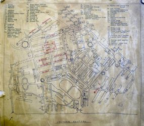 old map of Odstock hospital site with handwritten additions to ward names