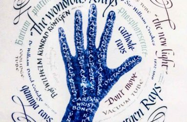 hand outline surrounded by words associated with x-rays written in calligraphy