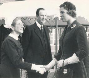 Princess Alexandra shaking hands with staff member
