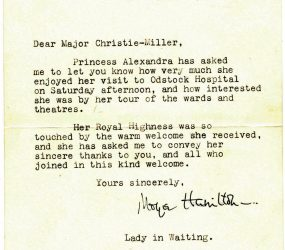 letter from Kensington Palace saying how much HRH Princess Alexandra enjoyed visit to Odstock Hospital