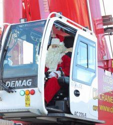 Crane operator dressed as Father Christmas