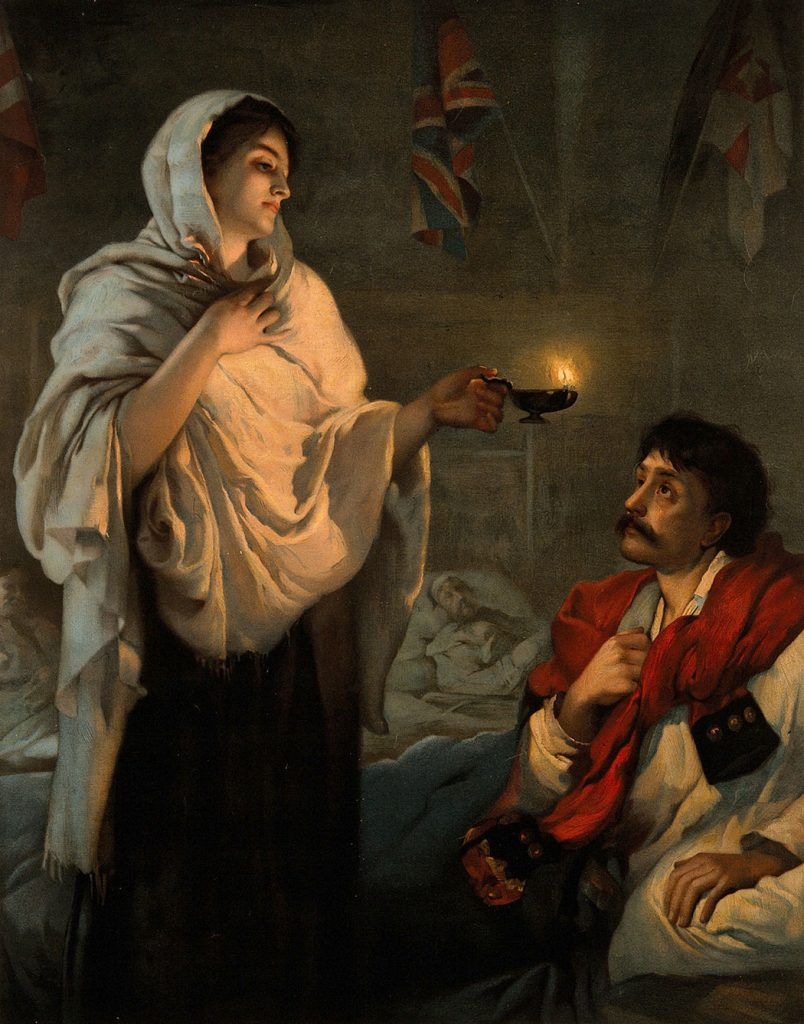 Crimean War: Florence Nightingale with her lamp at a patient's bedside