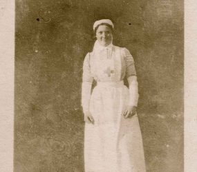 Nurse posing in the hospital garden