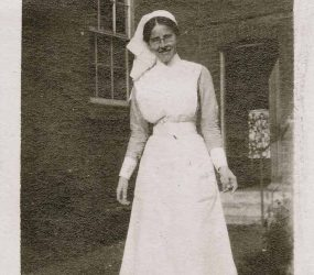 Nurse posing in the hospital grounds
