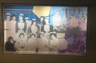 montage of historic nurse images and map of hospital site