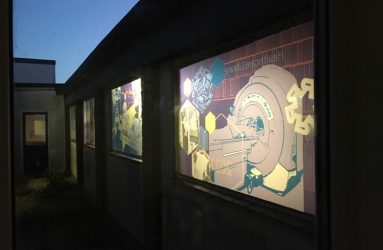 window design viewed from outside at night