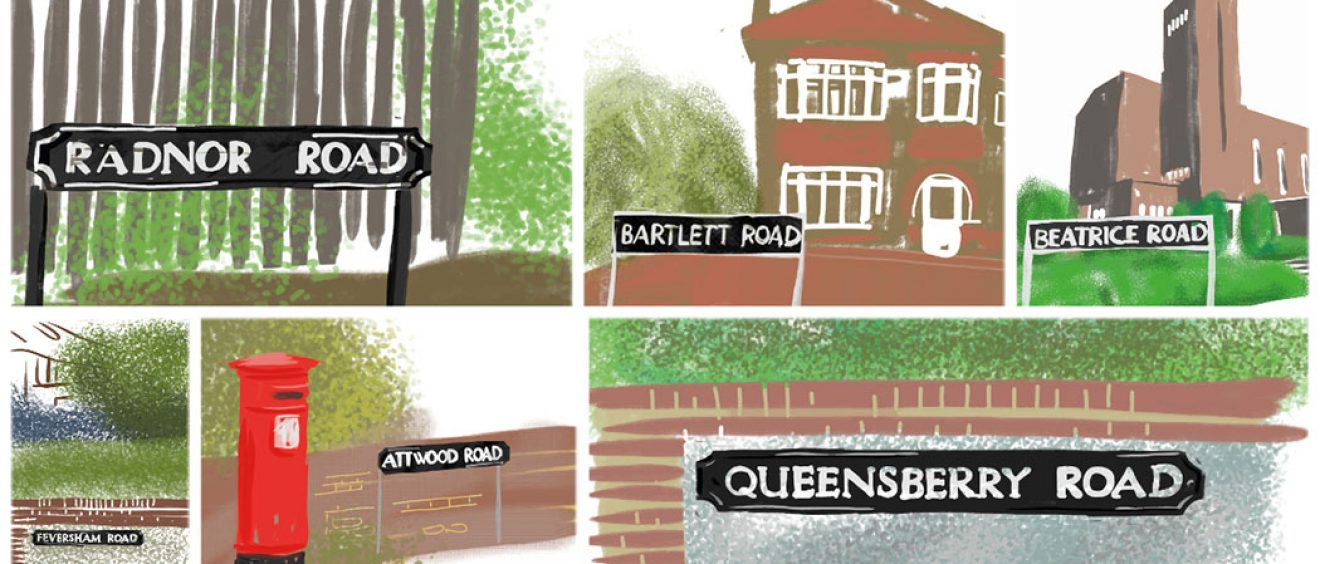 montage of digital drawing of hospital ward street names