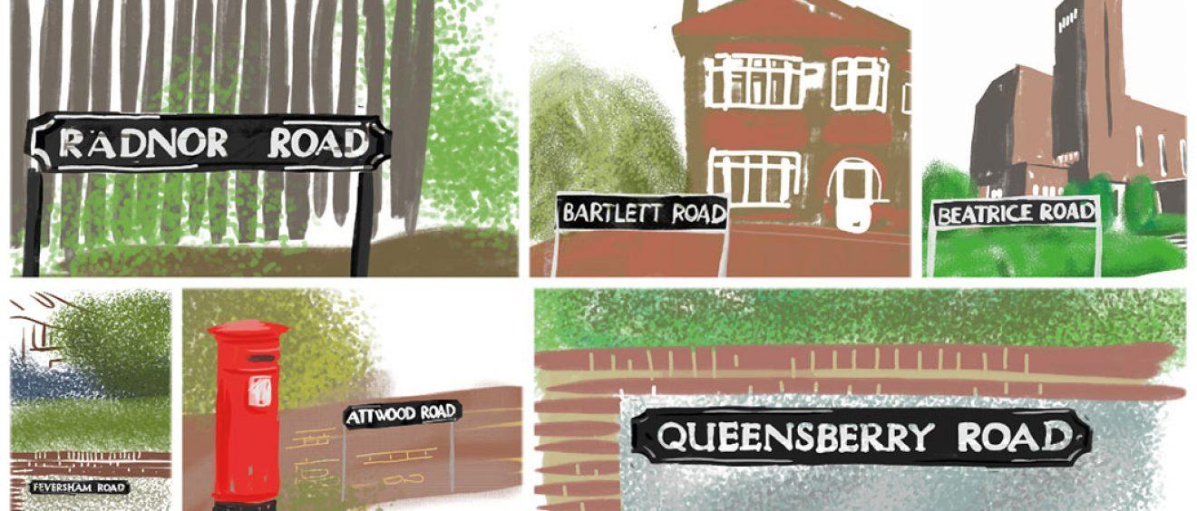 montage of digital drawing of hospital ward street names