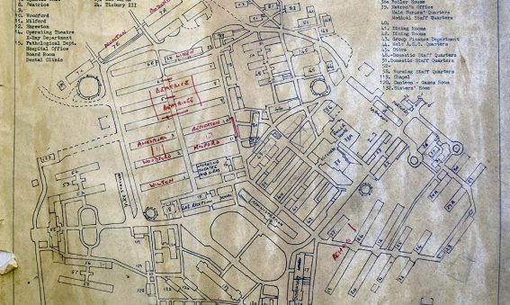 plan of site with handwritten ward names added to some buildings