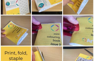 series of images showing how to fold, staple and trim colouring book pages