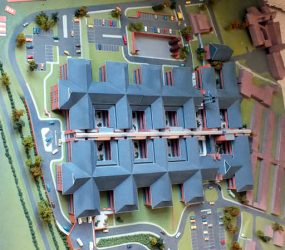 3D model showing site layout and new buildings