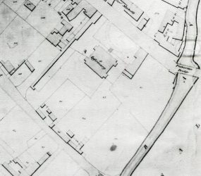 close up of map showing location of Infirmary near Fisherton Bridge