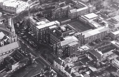 Infirmary site from the air and surrounding streets of Salisbury
