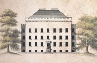 Drawing of front elevation of Infirmary