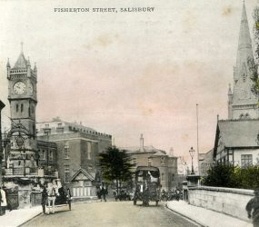 View of Infirmary from Fishterton Street, horses and carts in road