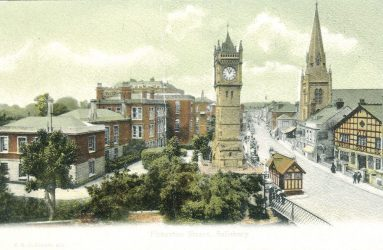 View of clock tower and infirmary east side