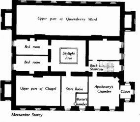 floor plan showing bedroom, upper part of chapel, store, apothecary's chamber, and upper part Queensberry ward
