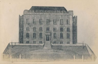 Drawing of front elevation and ground in front