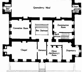 floor plan showing entrance, chapel, dispensary, committee room, examination room, and Queensberry ward