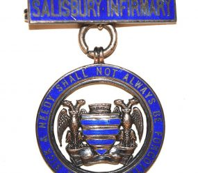 blue circle badge with Salisbury crest in centre and bar at top with words 'Salisbury Infirmary'