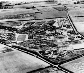 Aerial view of the Odstock Hospital site showing Nissen huts