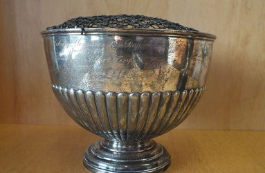 large inscribed silver bowl