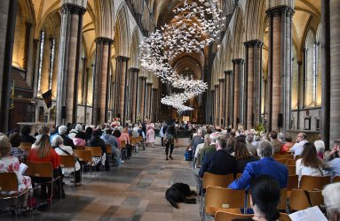 View of audience from behind during NHS70 cathedral service
